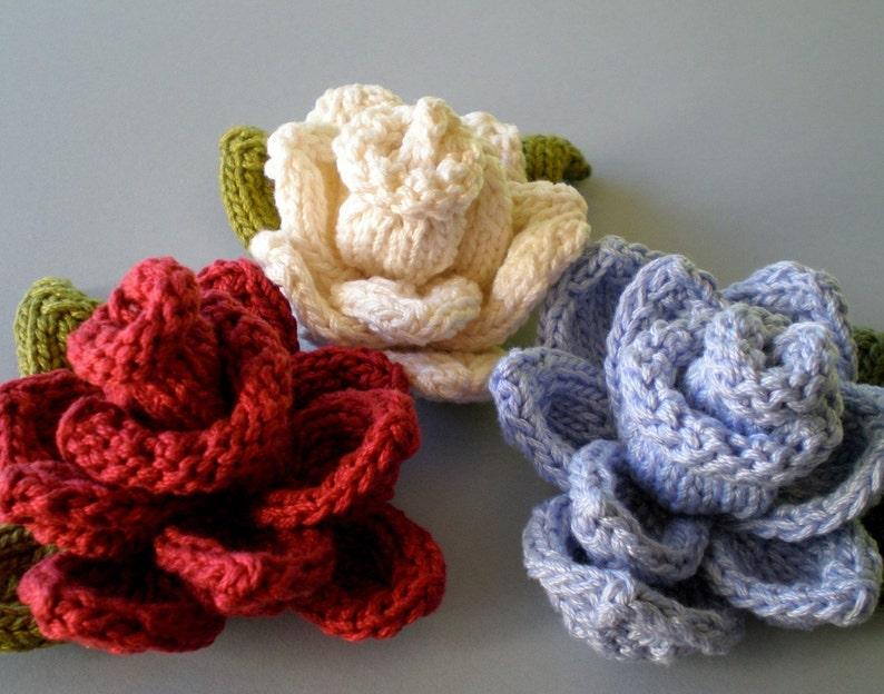 PDF Knit Flower Pattern Rose Knit Flower | Etsy