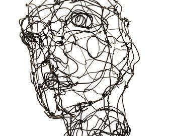 Three dimensional head in wire Female Bust sculpture Metal Sculpture 3D Wire Sculpture Wire Face Sculpture