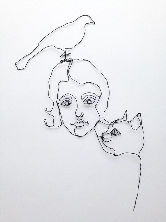 Draht Wand Kunst schwarze Katze Vogel und Mädchen | Etsy