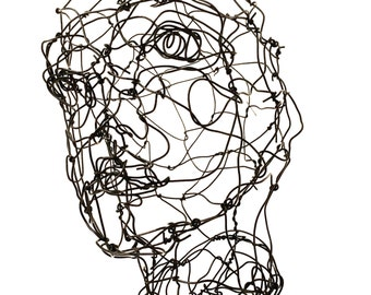 3D Wire Sculpture - Female Bust sculpture - Wire Face Sculpture - Three dimensional head in wire - Metal Sculpture