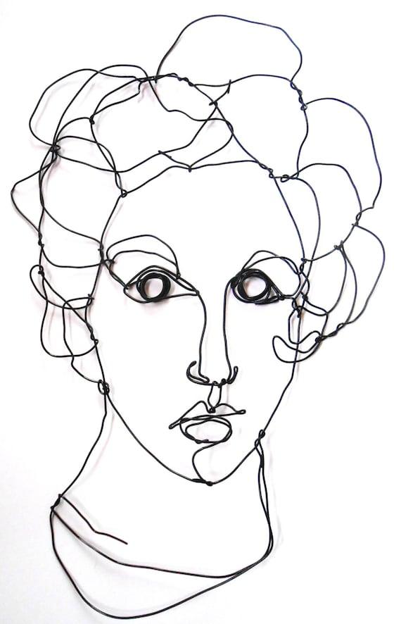 Draht Vogue Woman Modell Porträt-Profil Mode Kunst | Etsy