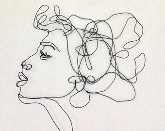 Elegant Kiss Profile   Wire Wall Art   Woman   Female Portrait   Wall Sculpture
