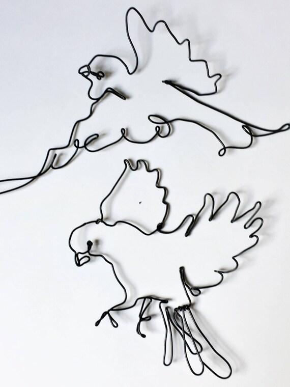 Draht-Skulptur paar Vögel Landung Vögel Draht Dekoration | Etsy