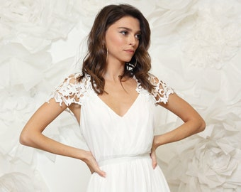 Romantic wedding dress V neck with embroidery pattern on shoulders and back