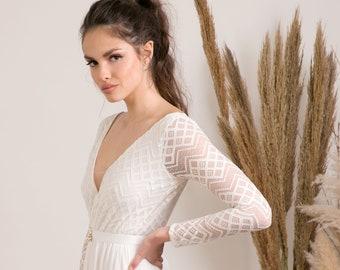 Unique long sleeves boho wedding dress handmade from soft elastic fabrics, designed for sophisticated modern women that enjoy relaxed luxury
