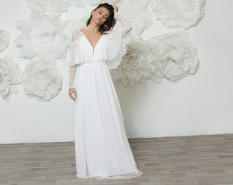 Long sleeve boho wedding dress handmade with dotted white elastic mesh tulle, alternative and unique, comfortable and stunning wedding dress