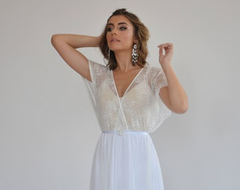 e1519567b6f60 Wedding dress with lace top and short lace sleeves wedding dress, simple wedding  dress, casual wedding dress, boho wedding dress.
