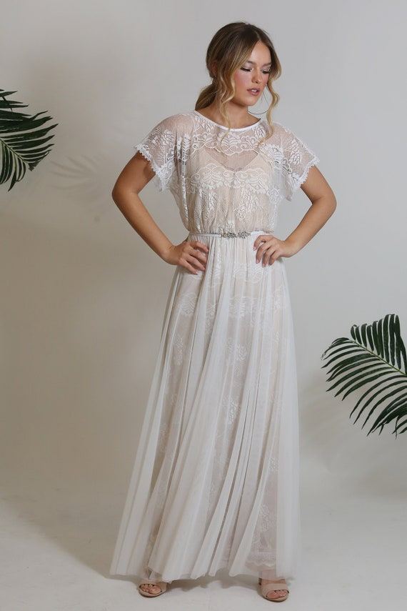Bohemian Lace Wedding Dress Lace Top With Delicate Sheer Mesh Above Lace Skirt And Nude Color Lining Short Sleeve Wedding Dress Boho