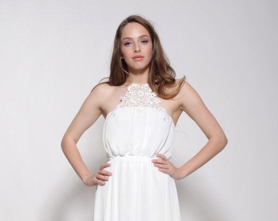 Halter Chiffon Wedding Dress Embroidery Pattern At Front