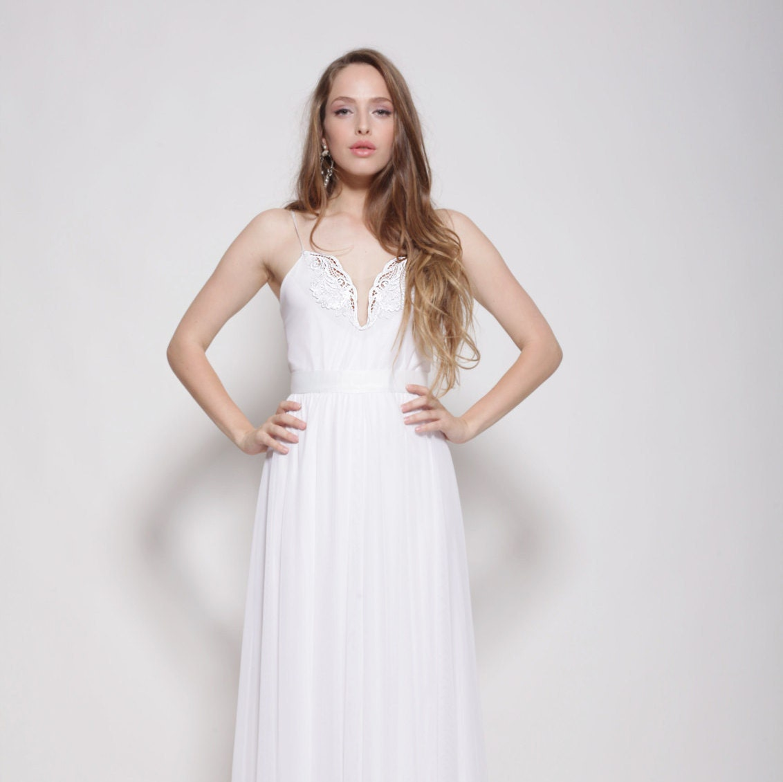 Boho wedding dress strapless wedding dress embroidery | Etsy