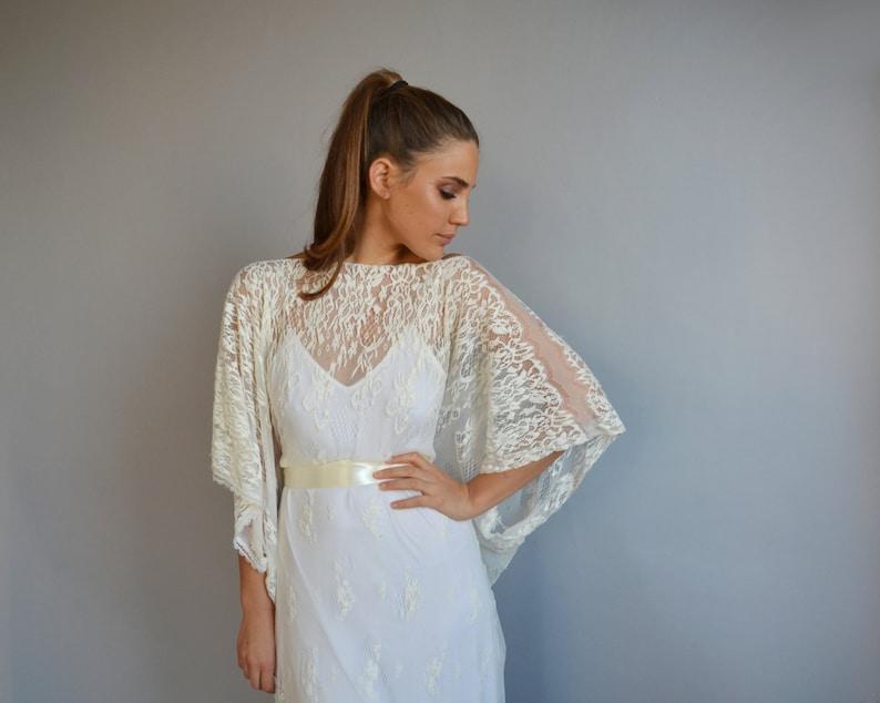 more photos 8fa13 dbdc5 Brautkleid, Ärmel Kimono, Hochzeit, Hochzeit Spitzenkleid, romantische  Hochzeitskleid, Boho-schick