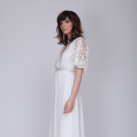 Wedding dress with stunning lace top, bell shape sleeves lace wedding dress.