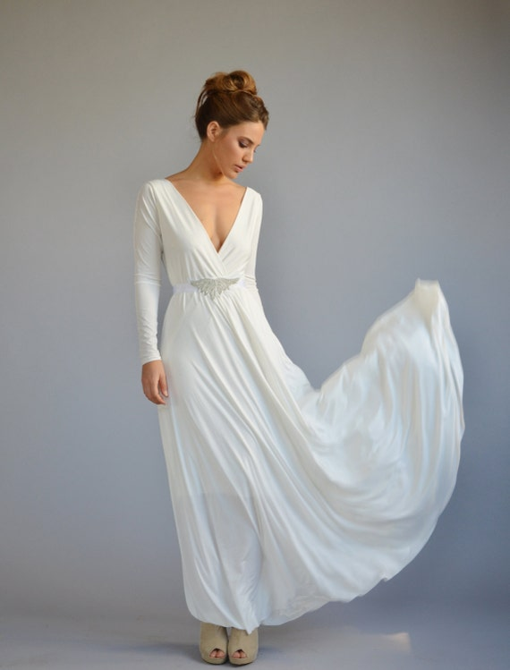 Simple Wedding Dress With Sleeves Casual Wedding Dress V Etsy