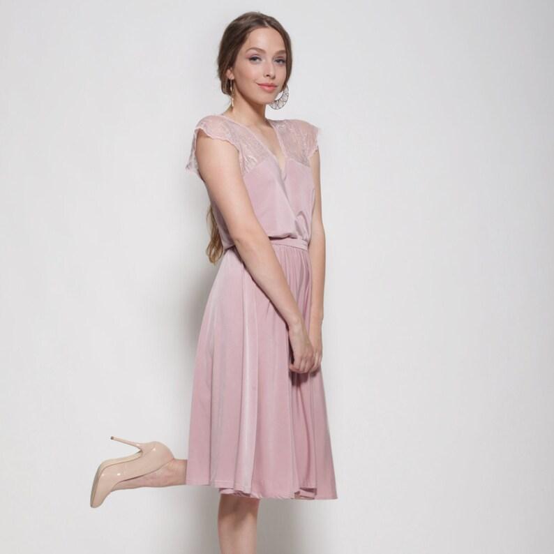 bridesmaid pink dress dress,lace at the top and sleeves bell shape skirt Bridesmaids dress knee length bridesmaid blush dress