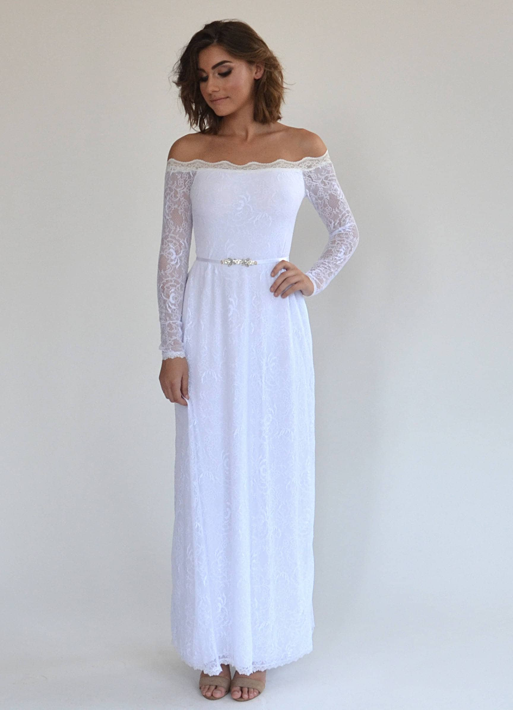 2cac67a7e One Shoulder Long Sleeve Lace Wedding Dress – DACC