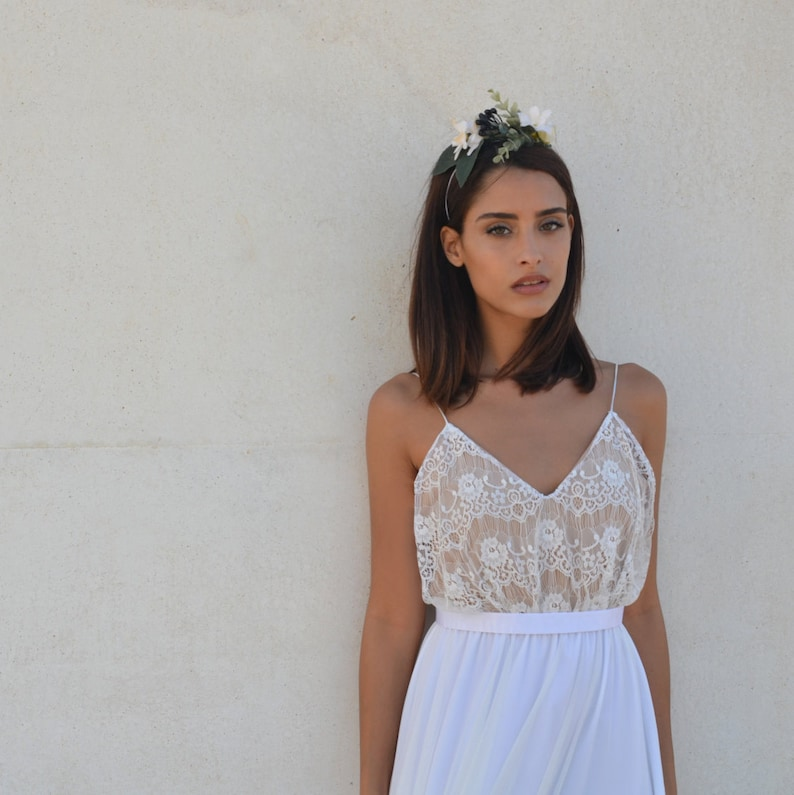 Wedding dress lace top bohemian chic wedding dress v-neck image 0