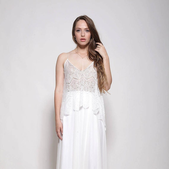 What Colours Not To Wear To A Wedding: Bohemian Lace Top Wedding Dress Nude Color Lining Open