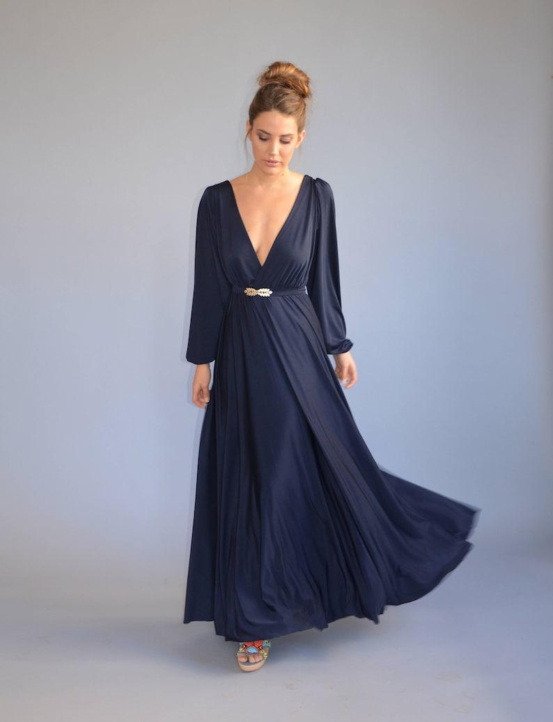 blue evening dress floor length bell shape dress party dress prom dress golden feather belt Bridesmaids dress