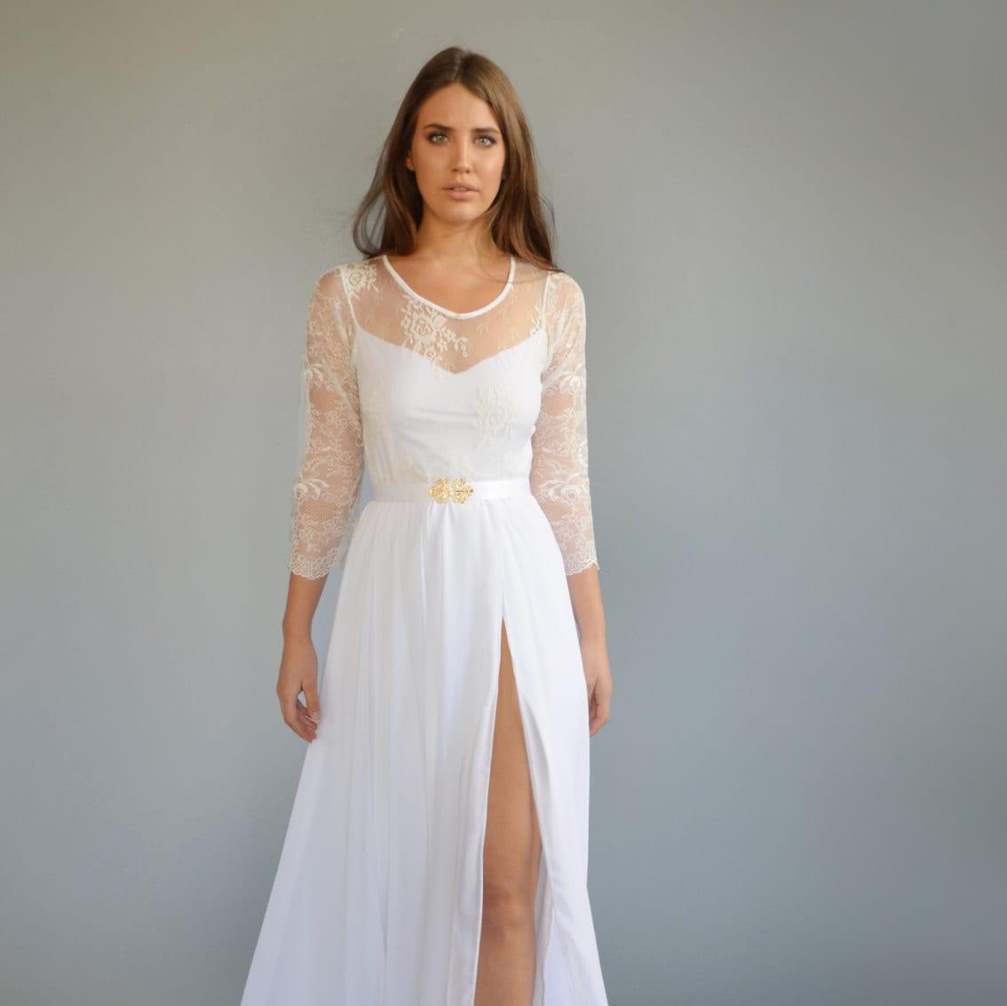 Boho Wedding Dress Bohemian Wedding Dress Lace Wedding Etsy