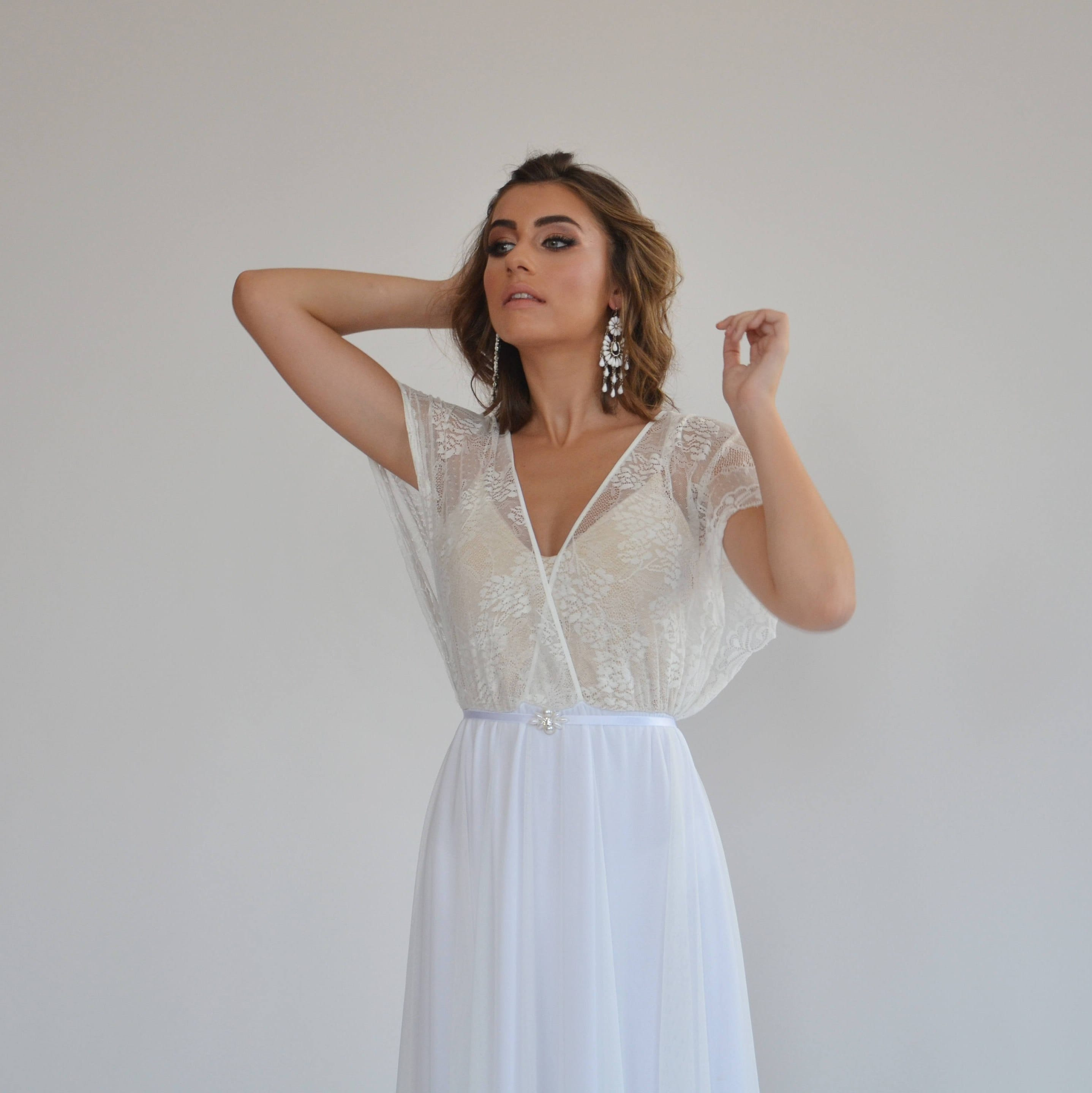 Wedding Dress With Lace Top And Short Lace Sleeves Wedding Dress Simple Wedding Dress Casual Wedding Dress Boho Wedding Dress