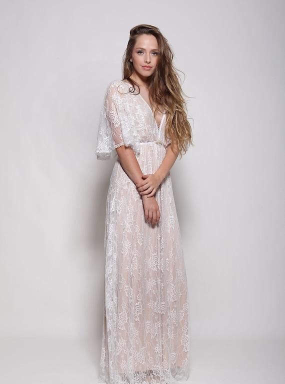 Bohemian lace wedding dress wedding lace dress low back | Etsy