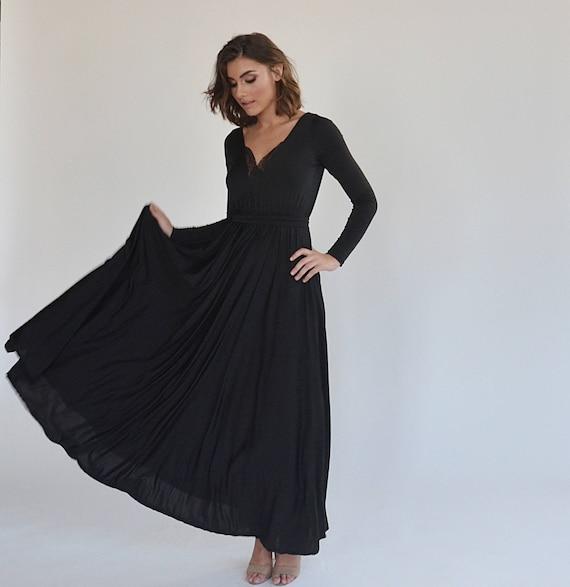 Bridesmaids Dress Black Evening Dress Floor Length Bell Shape Etsy