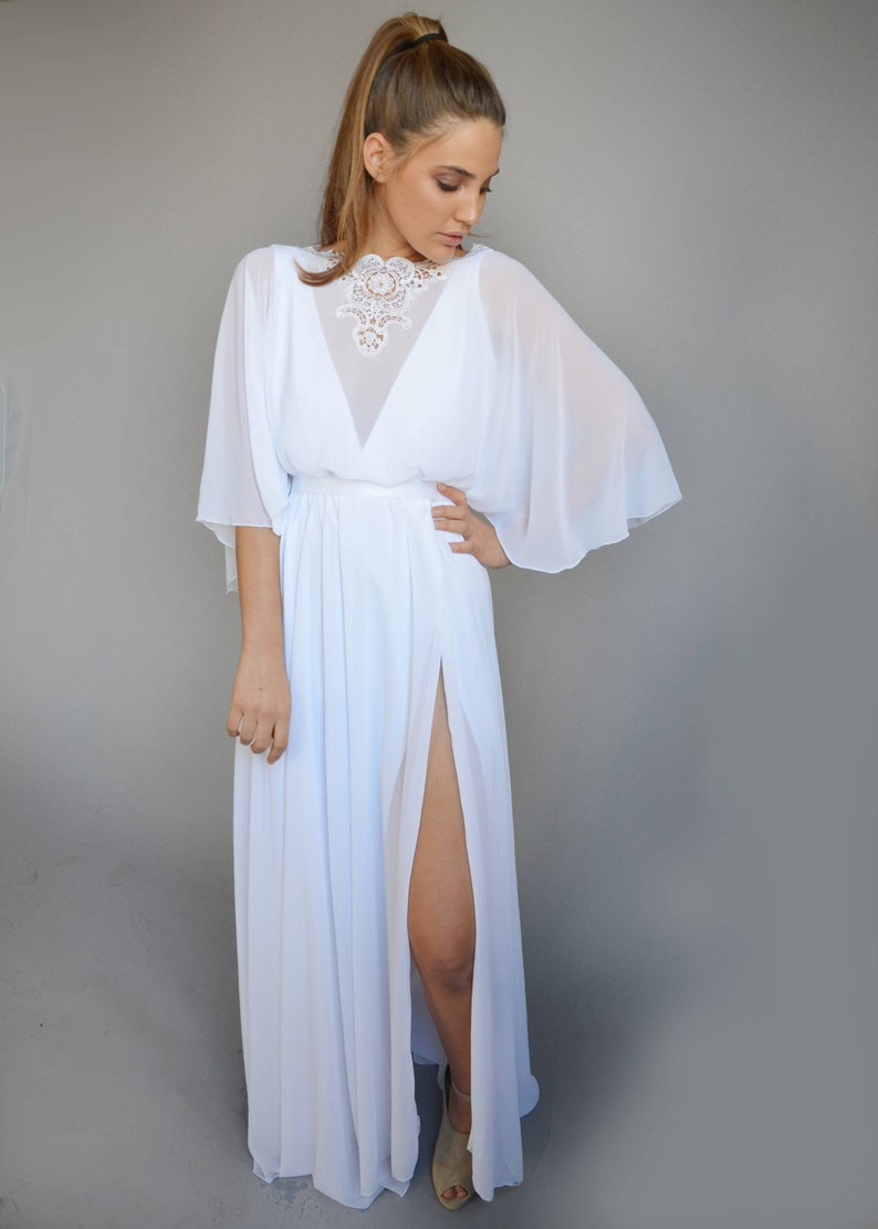 96a091aaa2 Chiffon wedding dress kimono sleeves embroidery at the
