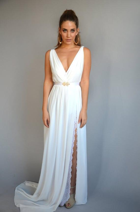 Wedding dress chiffon wedding dress with lace slit V neck   Etsy