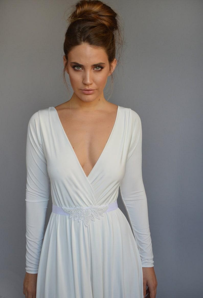 Simple wedding dress floor length boho wedding dress long image 0