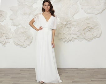 WEDDING DRESS , kimono sleeves bohemian style bridal dress with lace detail on shoulder.  Comfortable, romantic and simple wedding dress