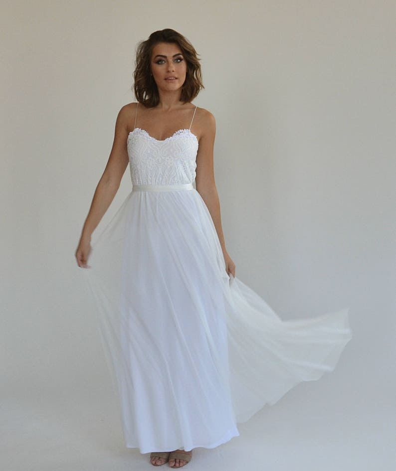 Wedding Dress With Heart Shape Lace Top And Spaghetti Straps Etsy