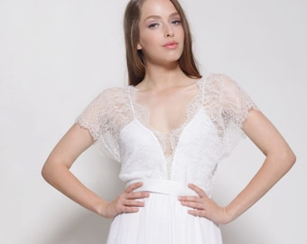 wedding dress with stunning lace top with sleeves, open back wedding dress, short sleeves wedding dress, vintage style wedding dress.