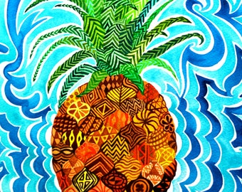 Pineapple (Psychedelic Paradise Hawaii Maui Rain Forrest Fruit Tropical Trippy Vibrant Watercolor Kapa Cloth Pattern)