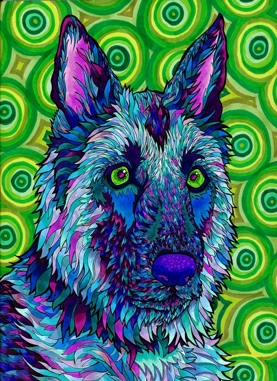 Shepherdelic Print Trippy Psychedelic German Shepherd Dog ...