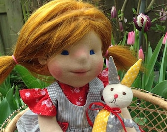 Waldorf Doll - Peony -  Waldorf inspired doll, Steiner doll, cloth doll,organic waldorf doll