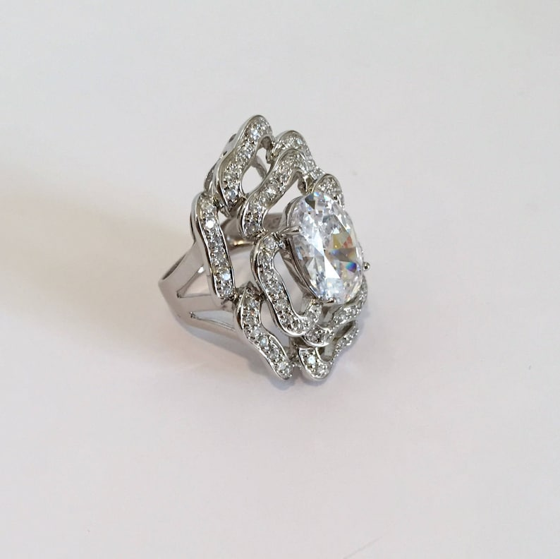 Sterling Silver Large Stone Cocktail Ring White Stone Ring Pave Ring Estate Ring Openwork Ring Rose Ring Statement Ring