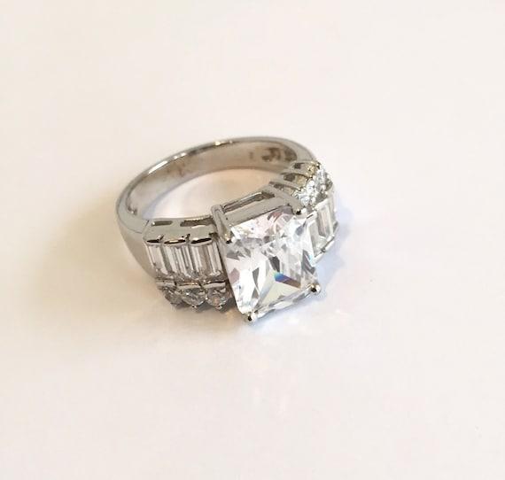 Vintage Sterling Silver Multi Stone Baguette Ring