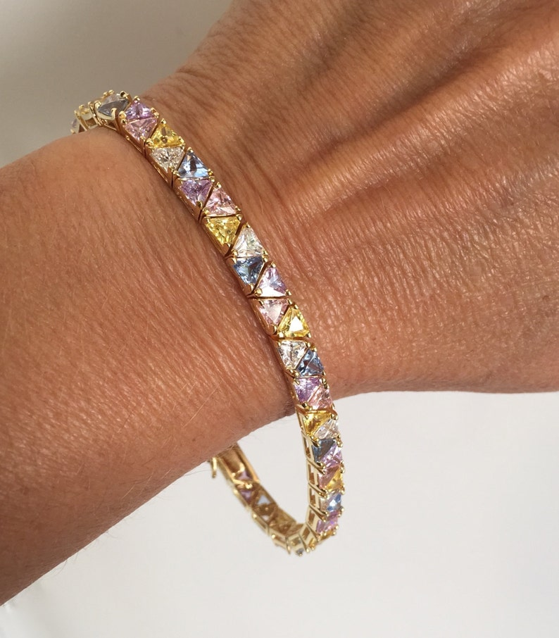 Vintage Gold Vermeil MultiColor Stone Tennis Bracelet Pink Stone Blue Stone Yellow Stone White Stone  Multi GemStone Estate Bracelet