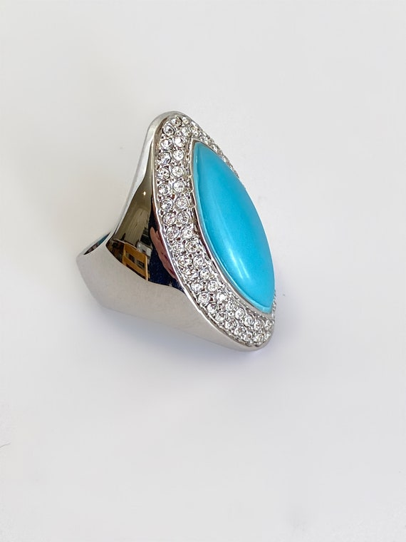 Turquoise and Pave Diamond Marquise Ring Large Sto