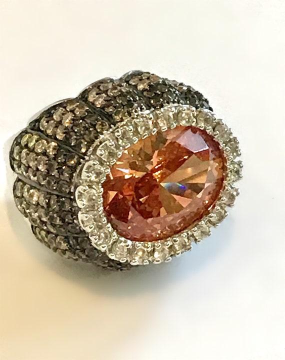 Sterling Silver Morganite Peach Stone Ombre Pave 2