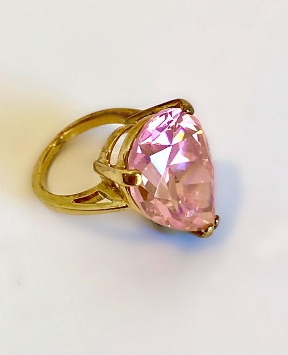 Gold Vermeil Large Stone Morganite Pink Sapphire … - image 1