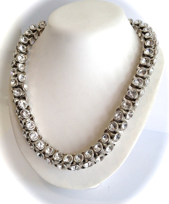 Chunky Crystal Statement Necklace White Stone Statement  601cd84e85f5