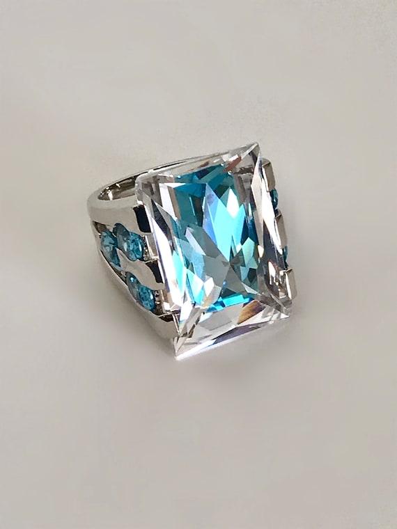 Silver Aquamarine Multi Stone Ring Blue Stone Esta