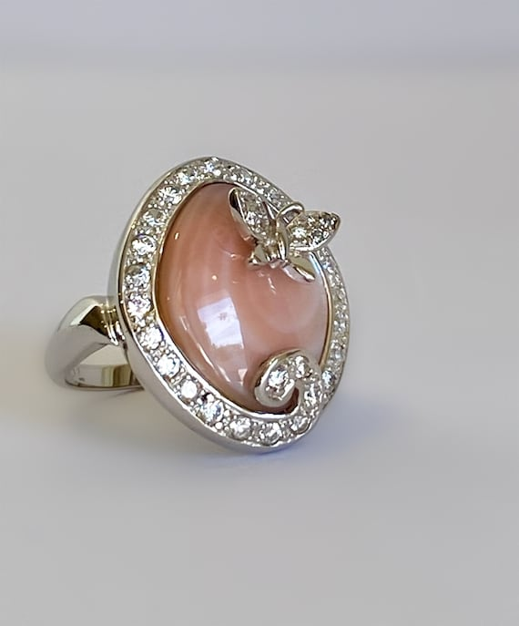 Sterling Silver Pink Stone Butterfly Ring Multi St