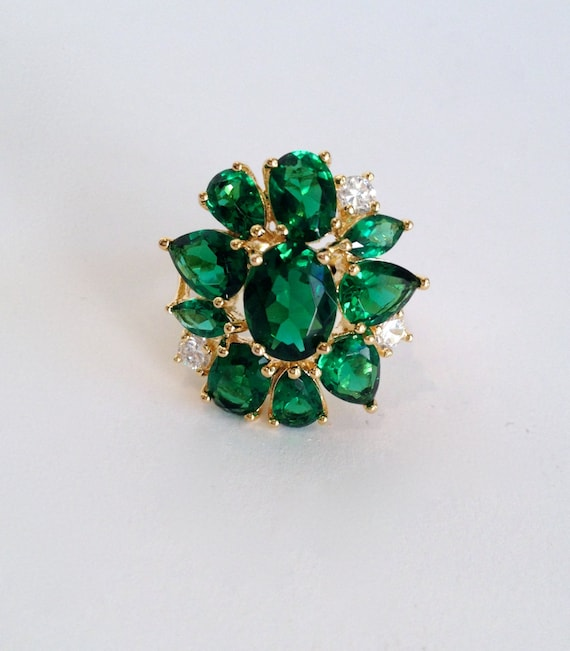 Vintage Emerald Estate Ring Gold Vermeil Green Sto