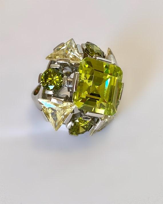 Sterling Silver Step Cut Emerald Cut Peridot & Cit