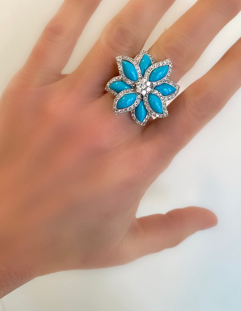 Turquoise and Pave Flower Ring Blue Stone Estate Ring Multi Stone Ring Turquoise Blossom Blue and White Stone Ring