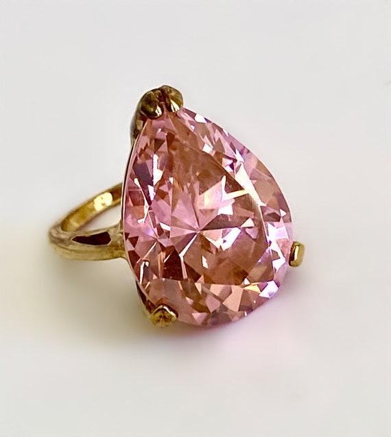 Gold Vermeil Large Stone Morganite Pink Sapphire … - image 3