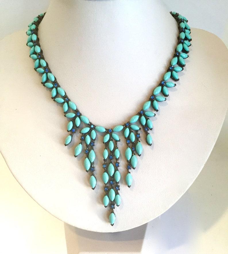 e6625135b4aa Babero cristal turquesa y azul collar collar piedra azul