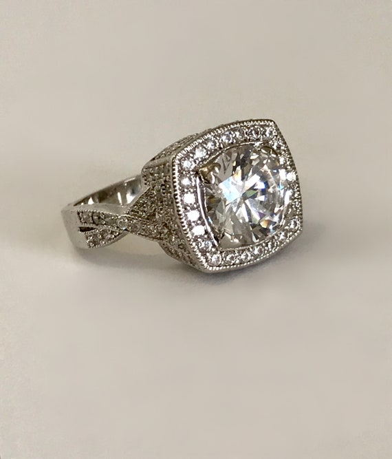 Silver Princess Multi Stone White Stone Engagement